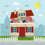 The concept of excessive consumerism. House bursting of stuff. Vector illustration. The concept of excessive consumerism. House bursting of stuff stock illustration