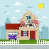 The concept of excessive consumerism. House bursting of stuff. Vector illustration. The concept of excessive consumerism. House bursting of stuff vector illustration
