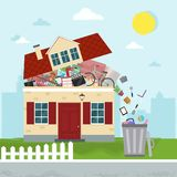 The concept of excessive consumerism. House bursting of stuff. T. Hrowing away things from house. Vector illustration stock illustration