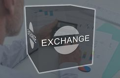 Concept of exchange. Exchange concept illustrated by a picture on background stock image