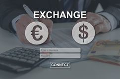 Concept of exchange. Exchange concept illustrated by a picture on background royalty free stock photography