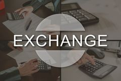 Concept of exchange. Exchange concept illustrated by pictures on background royalty free stock photos