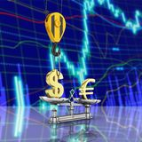 Concept of exchange rate support dollar vs euro The crane pulls the dollar up and lowers the euro on stock exchange background. With reflection 3d stock illustration