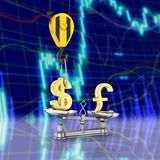 Concept of exchange rate support dollar vs pound The crane pulls the dollar up and lowers the pound sterling on stock exchange. Background 3d stock illustration