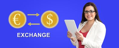 Concept of exchange. Woman using digital tablet with exchange concept on background stock photography