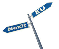 Concept of exit Netherlands from Eurounion. Road sign with two ways 'Nexit' and 'Eurounion'. 3d illustration with concept of exit Netherlands from Eurounion Royalty Free Stock Image
