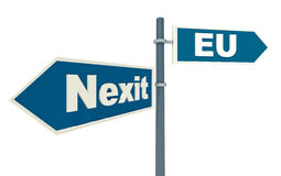 Concept of exit Netherlands from Eurounion. Road sign with two ways 'Nexit' and 'Eurounion'. 3d illustration with concept of exit Netherlands from Eurounion Stock Photos