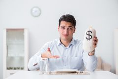 The concept of expensive dining in restaurants. Concept of expensive dining in restaurants Royalty Free Stock Image