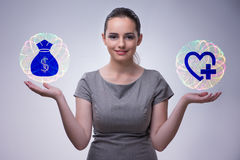 The concept of expensive health insurance Stock Photo