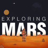 Concept exploring, colonization of Mars. Astronaut in spacesuit on red planet. Colorful vector illustration with. Inscription Royalty Free Stock Image