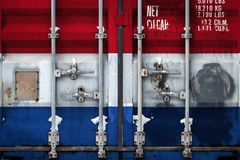 The concept of export-import and national delivery of goods. A closeup of a container with the national flag of the Netherlands. The concept of export-import the vector illustration