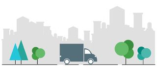 Concept of express delivery. Check the delivery service application on your mobile phone. Delivery of a truck from a cardboard box royalty free illustration