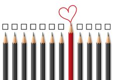 Concept of love expressing its difference by using pencils as a symbol. stock illustration