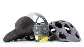 The concept of extreme sports action camera bicycle helmet 3d re. Nder on a white background Stock Image