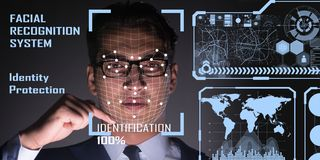 The concept of face recognition software and hardware. Concept of face recognition software and hardware royalty free stock photos