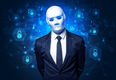Concept facial de reconnaissance de sécurité photographie stock