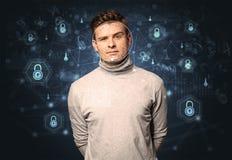 Concept facial de reconnaissance de sécurité images libres de droits