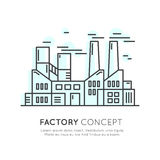 Concept of Factory building, Industrial Landscape. Vector Icon Style Illustration Concept of Factory building, Industrial Landscape, Ecology, Environment, Energy Stock Image