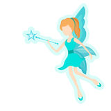Concept of fairy tales with angel. Beautiful young angel holding magic stick in her hand on white background Stock Image