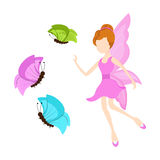 Concept of fairy tales with angel and butterfly. Beautiful young angel in pink dress trying to catch colorful butterflies on white background Stock Photo