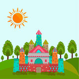 Concept of fairy tales with castle. Colorful royal castle for fairy tales concept with sun on nature view background Stock Image