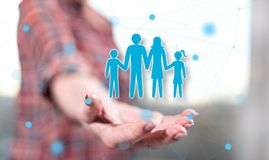 Concept of family. Family concept above the hand of a woman in background royalty free stock photos