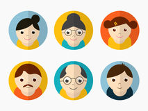 Concept of family avatars. Colorful set of happy family characters on grey background Royalty Free Stock Image