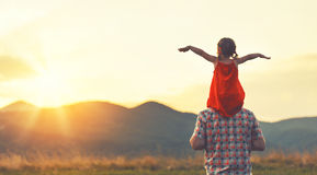 Concept of family. father and child daughter outdoors. In summer Royalty Free Stock Photo
