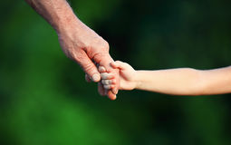 Concept of family. Hand the child's in hand  father Royalty Free Stock Photos
