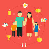 Concept family with icons lifestyle Young couple with children. Flat design vector illustration