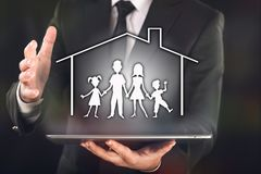 Concept For Family Insurance with Businessman royalty free stock photography