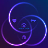 Concept of family insurance dark background glow circles Royalty Free Stock Images