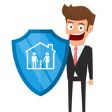 Concept of family insurance support service. Businessman holding shield symbol of protection with family in house icon. stock illustration