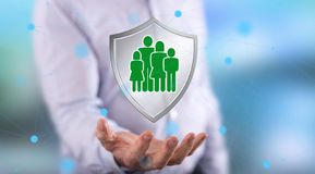 Concept of family protection stock photo