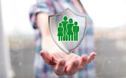 Concept of family protection stock photography