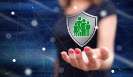 Concept of family protection stock image
