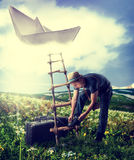 Concept - fantasy dreaming about travel. Royalty Free Stock Photos