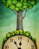 Tree on clock royalty free stock image