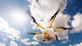 Concept of fast autonomous drone delivery. 3D rendering vector illustration