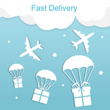 Concept of fast delivery airplane with gift boxes Royalty Free Stock Images