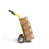 Concept of fast delivery boxes. On Tandem axle Royalty Free Stock Photos