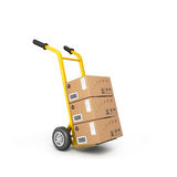 Concept of fast delivery boxes on a trolley. Isolated on a white background Stock Images
