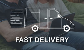 Concept of fast delivery. Fast delivery concept illustrated by a picture on background Stock Photography