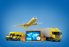 Concept of fast international deliveries different modes of tran Royalty Free Stock Image