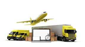 Concept of fast international deliveries different modes of tran Royalty Free Stock Photos