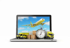 Concept of fast international deliveries different modes of tran Royalty Free Stock Photography