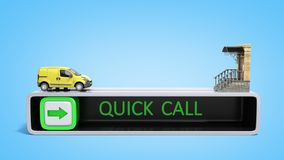 Concept of fast order of express delivery at the door 3d render. On Stock Photos