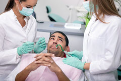 Concept of fear of the dentist Stock Photography