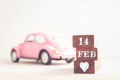 Concept 14 februari-bericht op stok Uitstekende toon Stock Fotografie