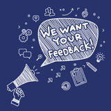 Concept of feedback. Hand Holding Megaphone with phrase We want your feedback. Hand drawn illustration Stock Photography